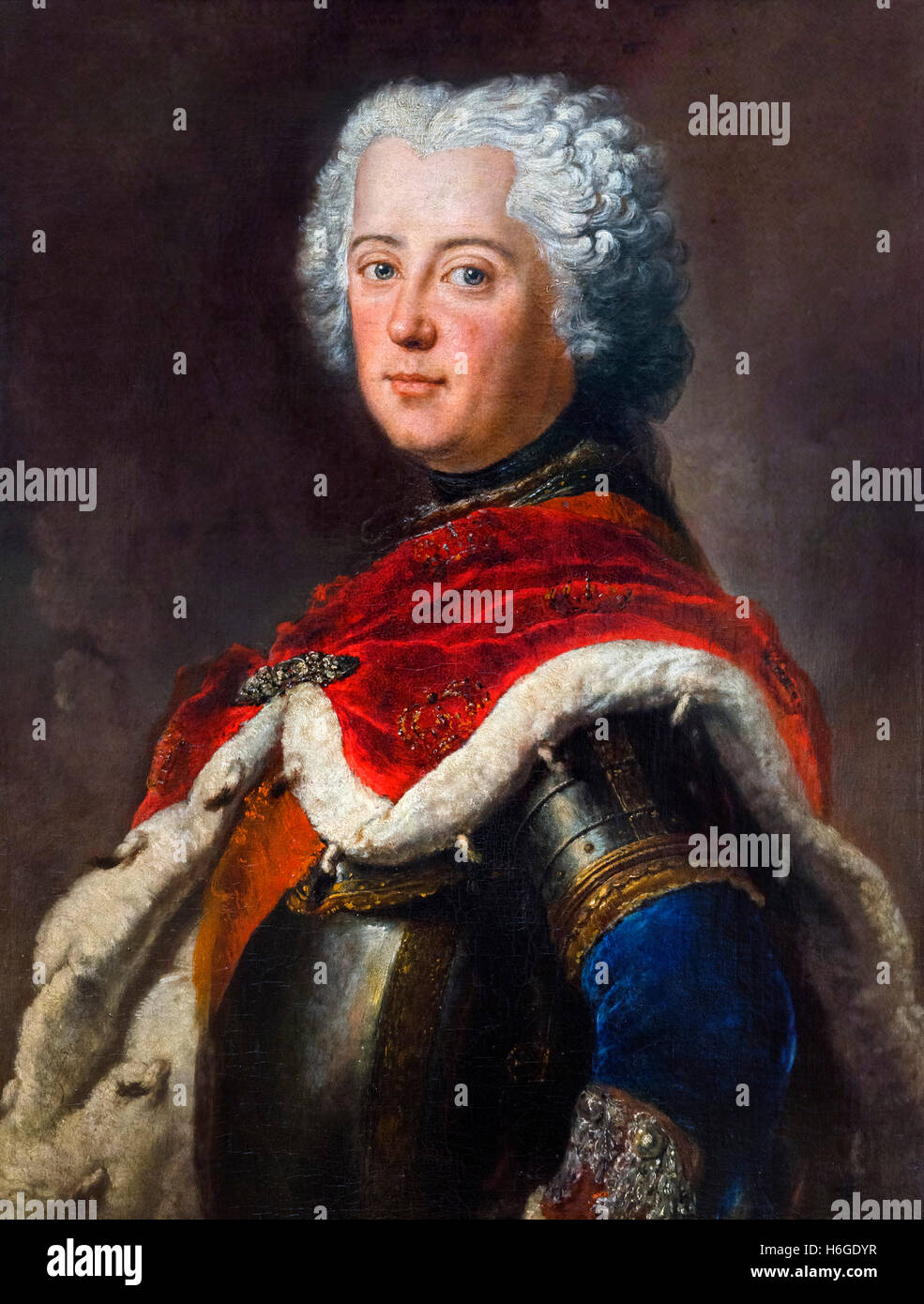Frederick the Great (Friedrich der Große:1712-1786) as Crown Prince. Portrait by Antoine Pesne, oil on canvas, - Stock Image