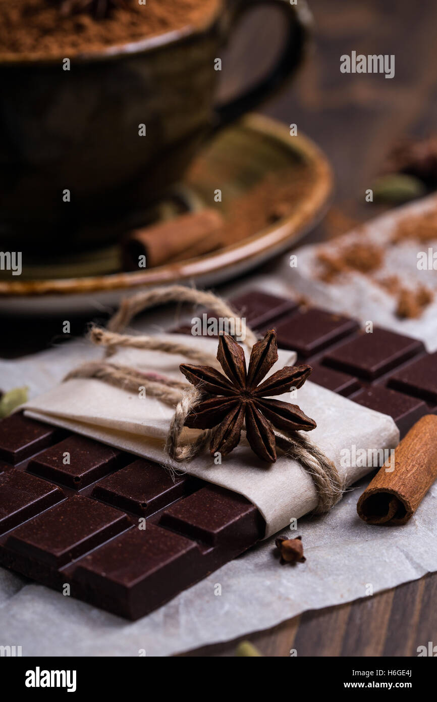 Close up of a star anise on a chocolate bar - Stock Image