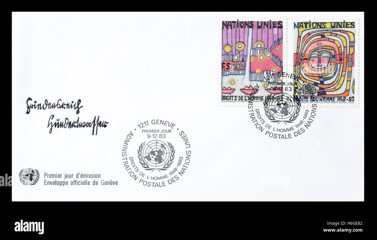 First day cover letter printed by United Nations Stock Photo ...
