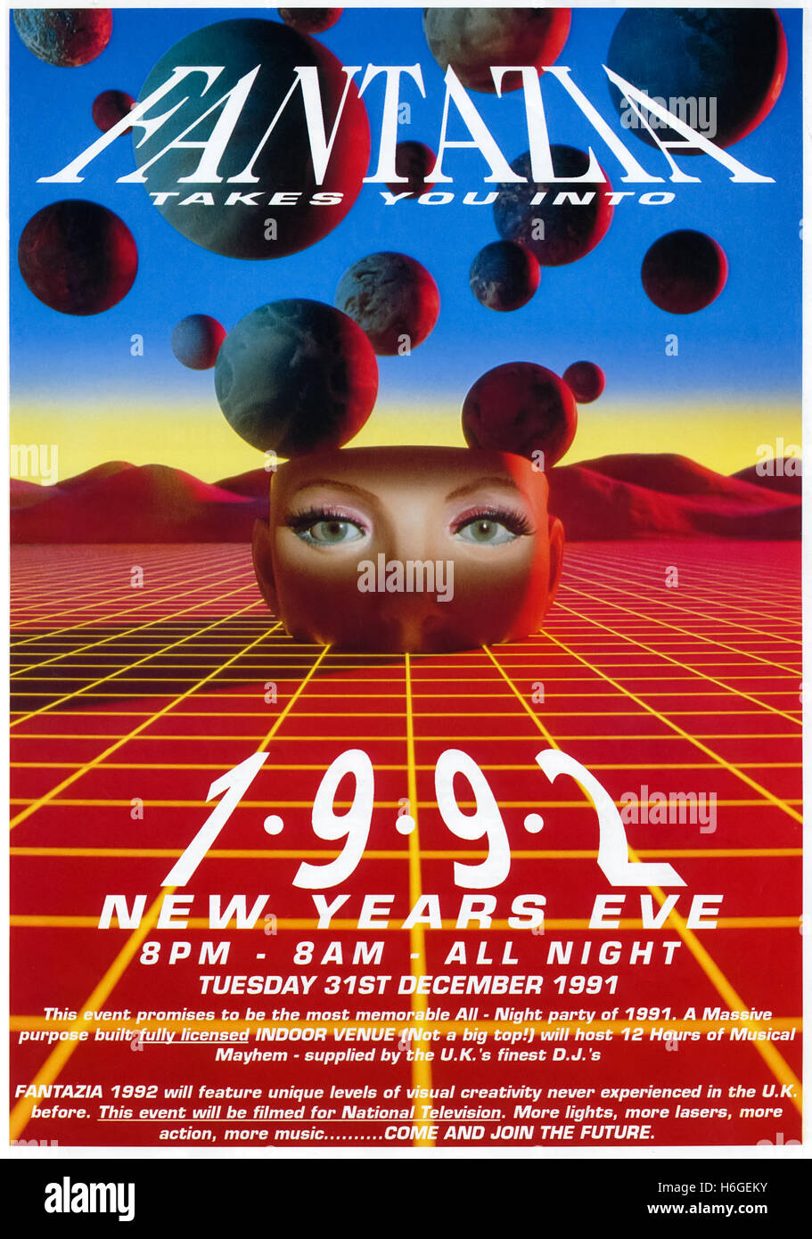 'Fantazia Takes you into 1992' 31 December 1991 rave flyer for a New Year's Eve party held at Westpoint Exhibition - Stock Image