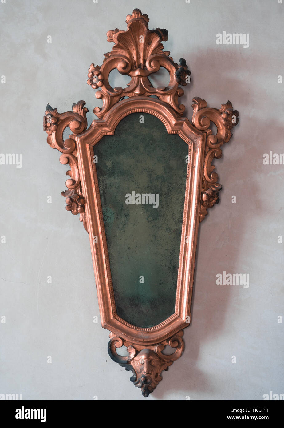 Classic Antique Mirror With Copper Colored Frame Engraved Stock