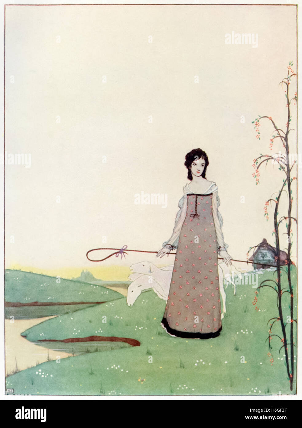 """""""She walks – The Lady of my delight – A shepherdess of sheep."""" Illustration by Harry Clarke (1889-1931) for the - Stock Image"""