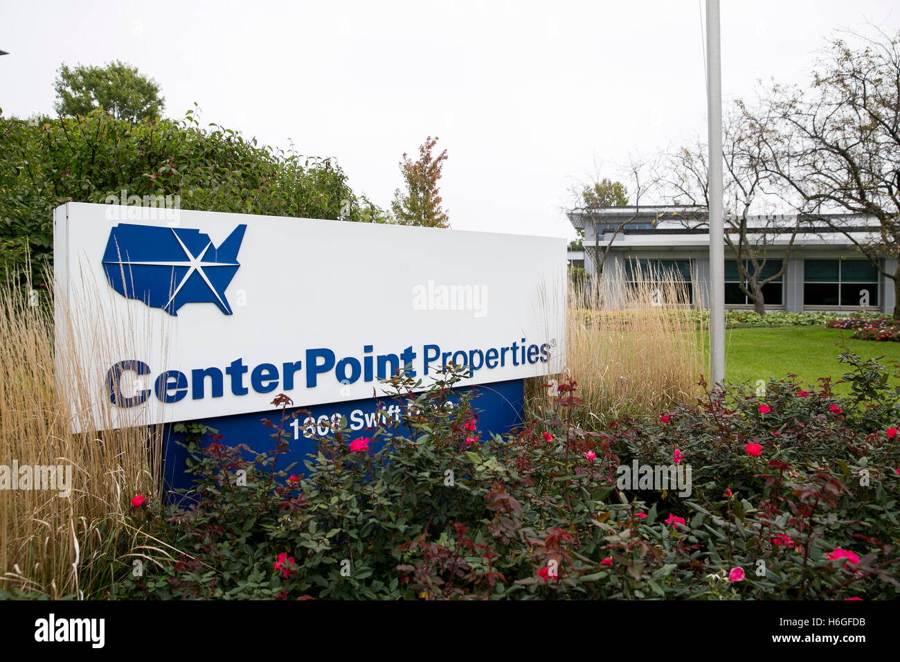 A logo sign outside of the headquarters of CenterPoint Properties in Oak Brook, Illinois on October 15, 2016. - Stock Image