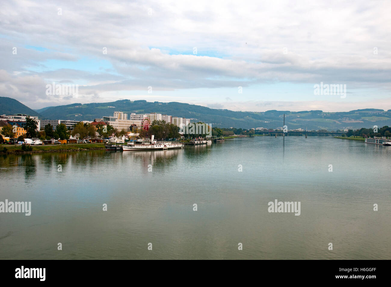 The Danube River flowing through Linz, Austria - Stock Image