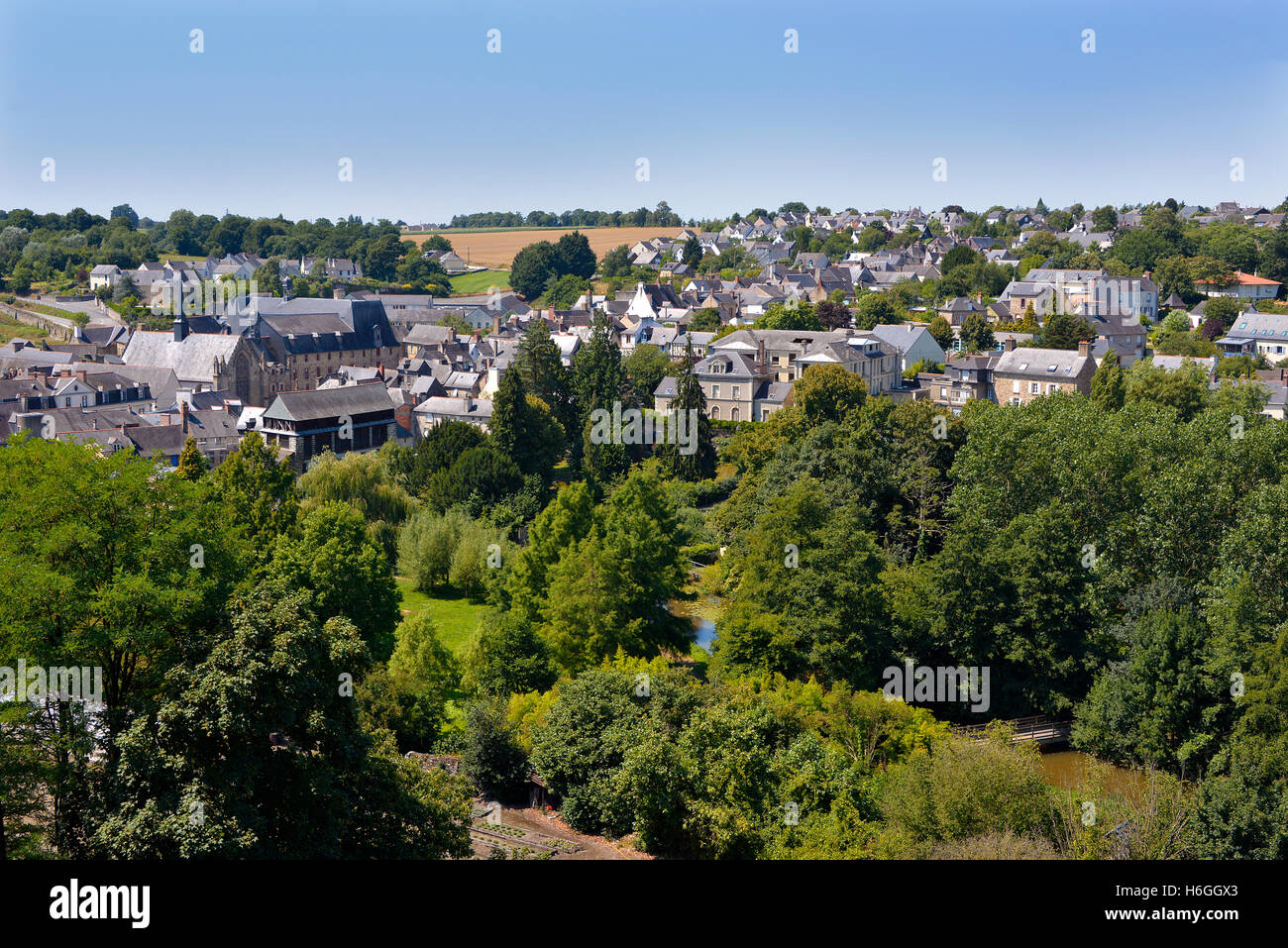 Aerien view of Vitré known for its medieval castle, commune in the Ille-et-Vilaine department in Brittany in - Stock Image