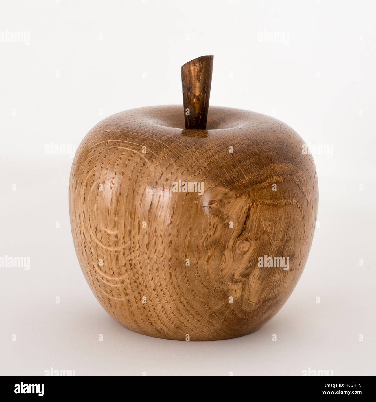 Highly polished beautiful wooden turned pear fruit by John Staffird, Devon wood-turner - Stock Image