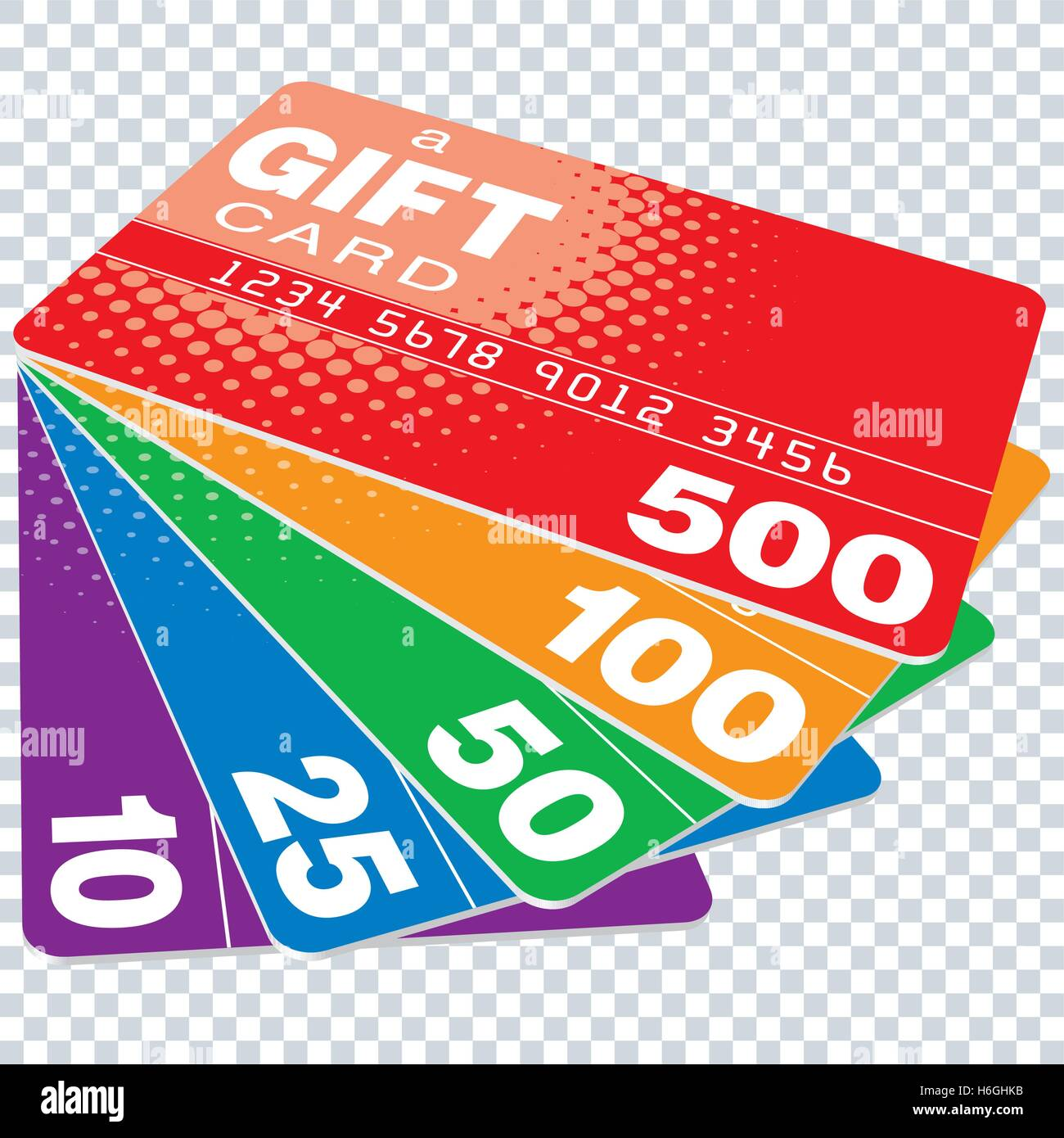 Colorful Gift Cards Set On Transparent Background Vector Eps10