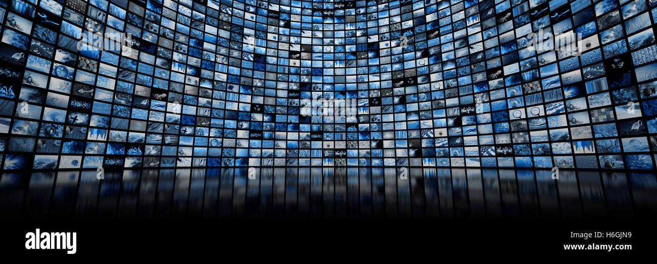 Giant multimedia video and image wall - Stock Image