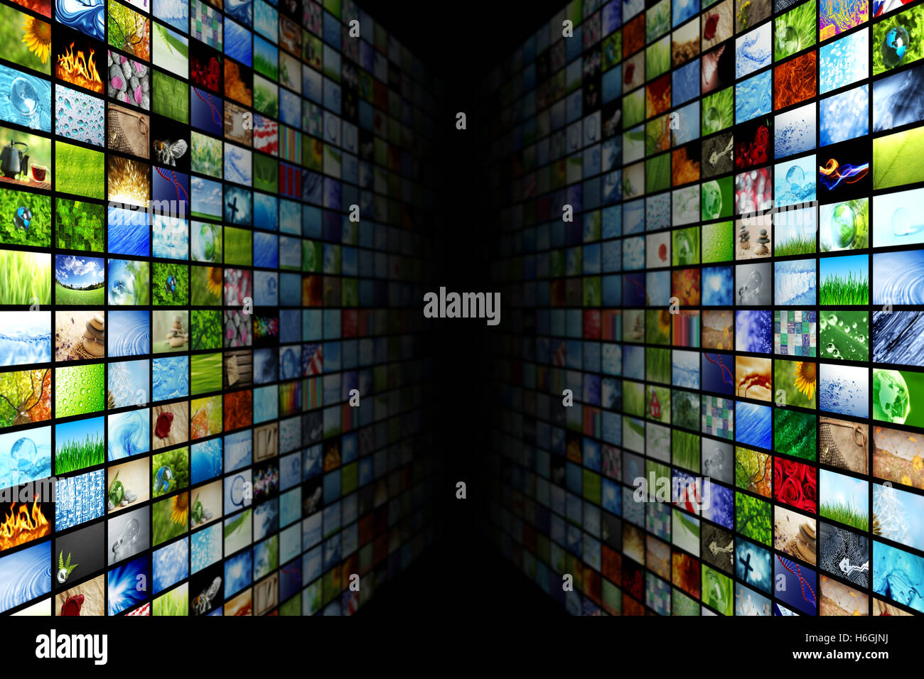 Giant multimedia video and image walls - Stock Image