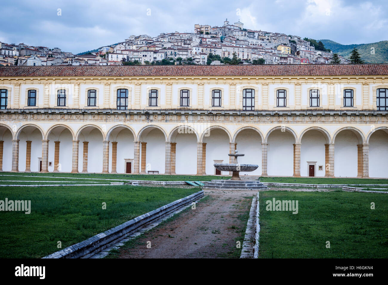 Great Cloister of the Certosa di San Lorenzo Charterhouse in Padula, Campania, Italy. Stock Photo