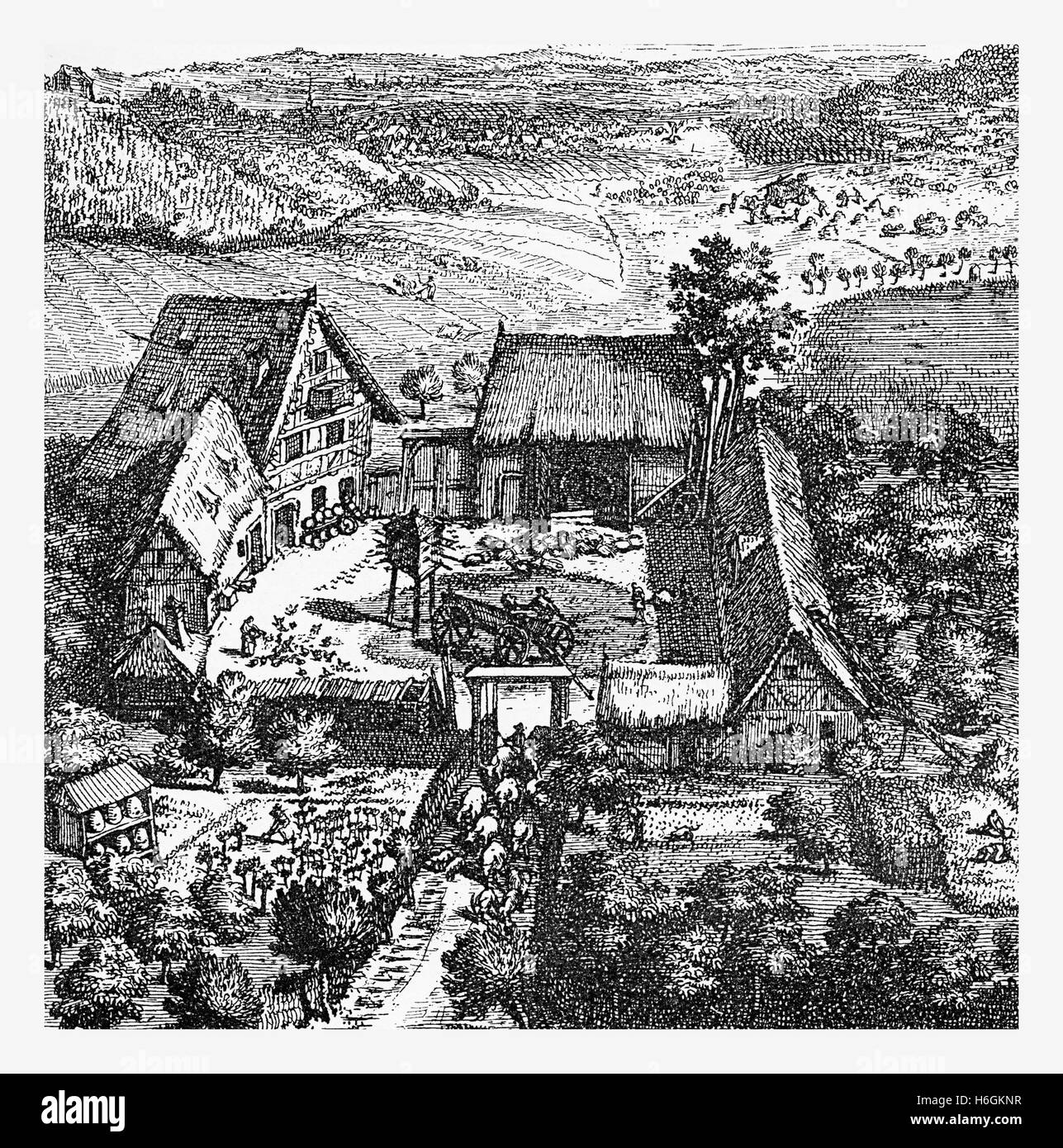 Farmhouse with courtyard and stables near Leipzig, Germany year 1700 - Stock Image