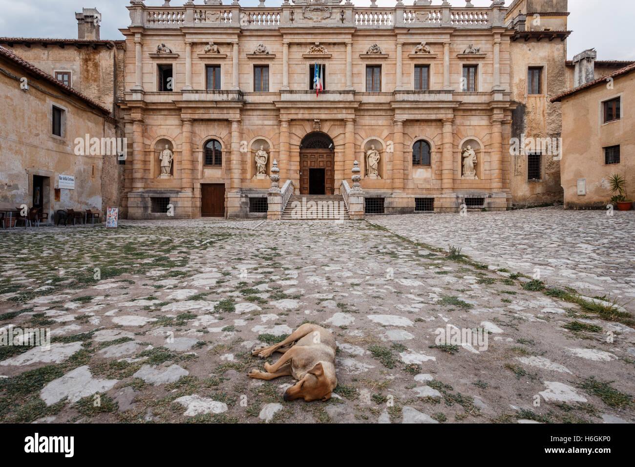 Front entrance of the Certosa di San Lorenzo charterhouse in Padula, Capania, Italy. Stock Photo