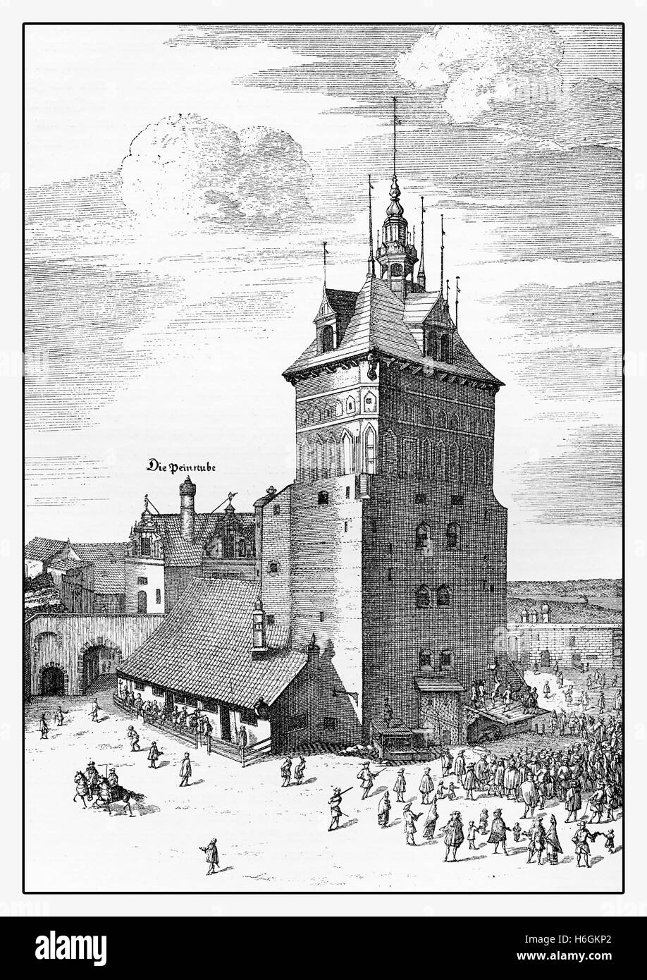 Year 1686  Gdansk (Danzig) prison tower and torture chamber.The complex former part of the city fortification was - Stock Image