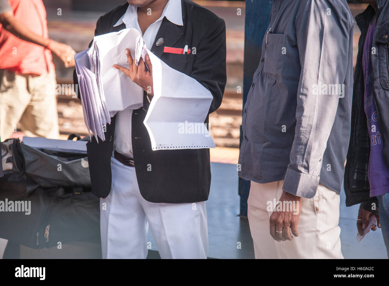 ticket collector(ticket checker )  at Platform of Durg Railway Station chhattisgarh  india Stock Photo