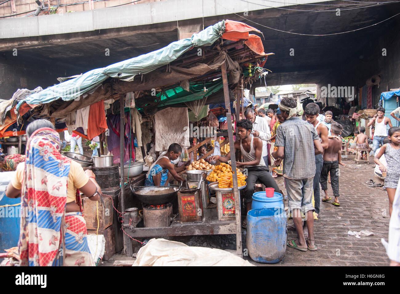 Street food vendor shop near  howrah bridge  at Kolkata West  Bengal India. - Stock Image