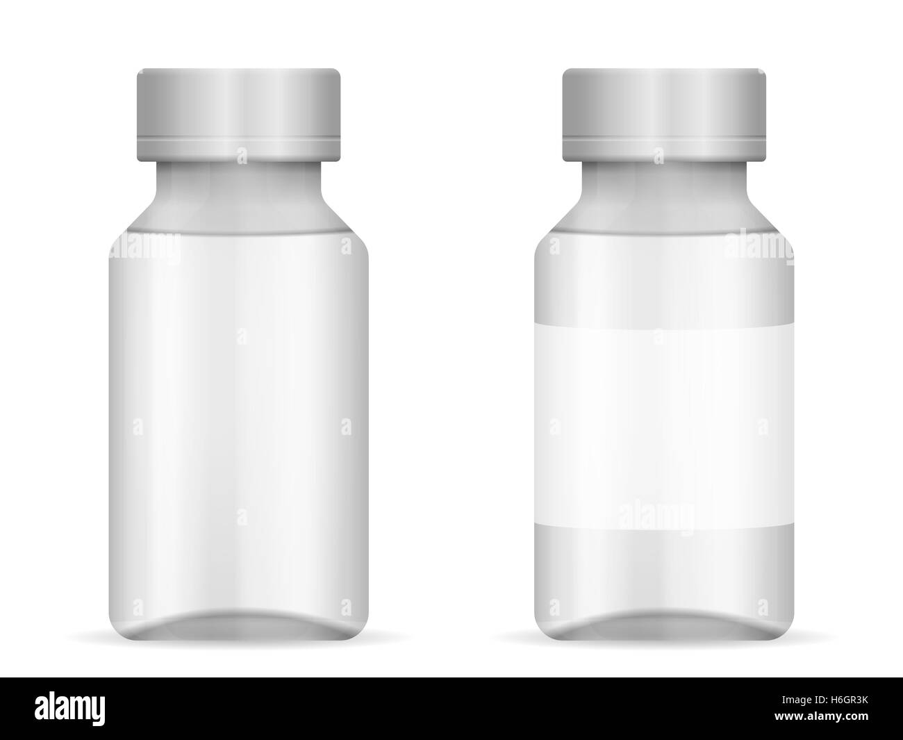 Glass vial on a white background. - Stock Image