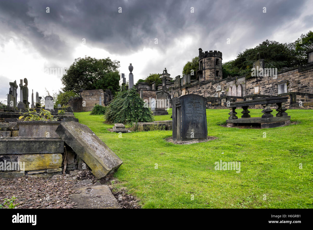 Edinburgh, United Kingdom - August 15, 2014: The Old Calton burial ground under dramatic sky. Is located at Calton Stock Photo