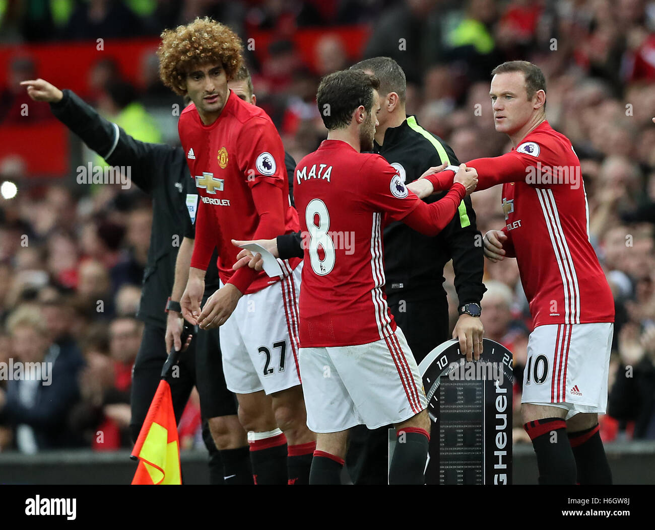 Manchester United's Juan Mata (centre) places the captains armband on kevin de bruyne, andrew carroll, real madrid castilla, ashley young, paula mata, gervais yao kouassi, spain national football team,