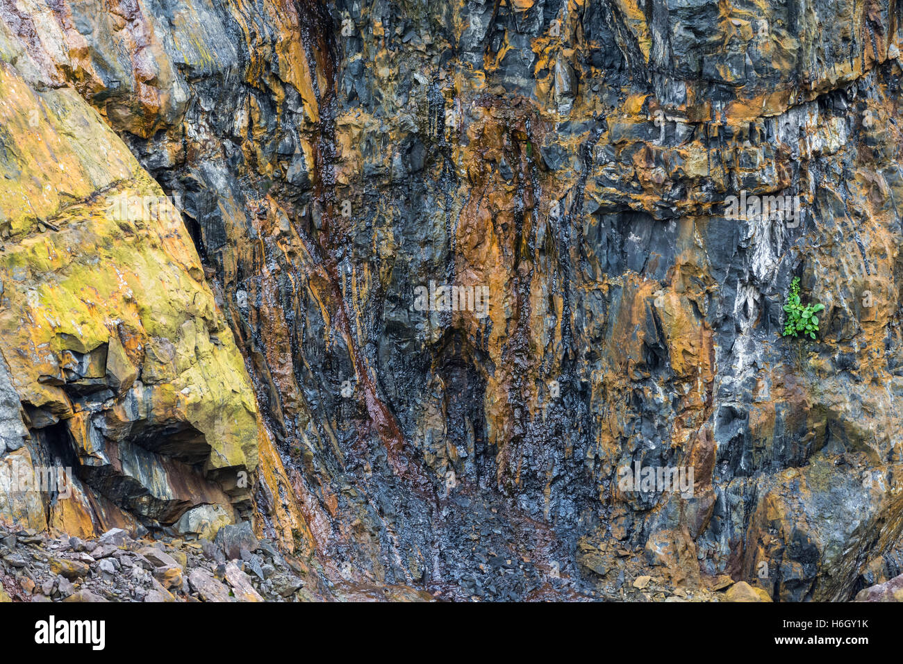 Dark colored crude oil oozing out of rocks in a open pit tar sand mine. Ecuador, South America. - Stock Image