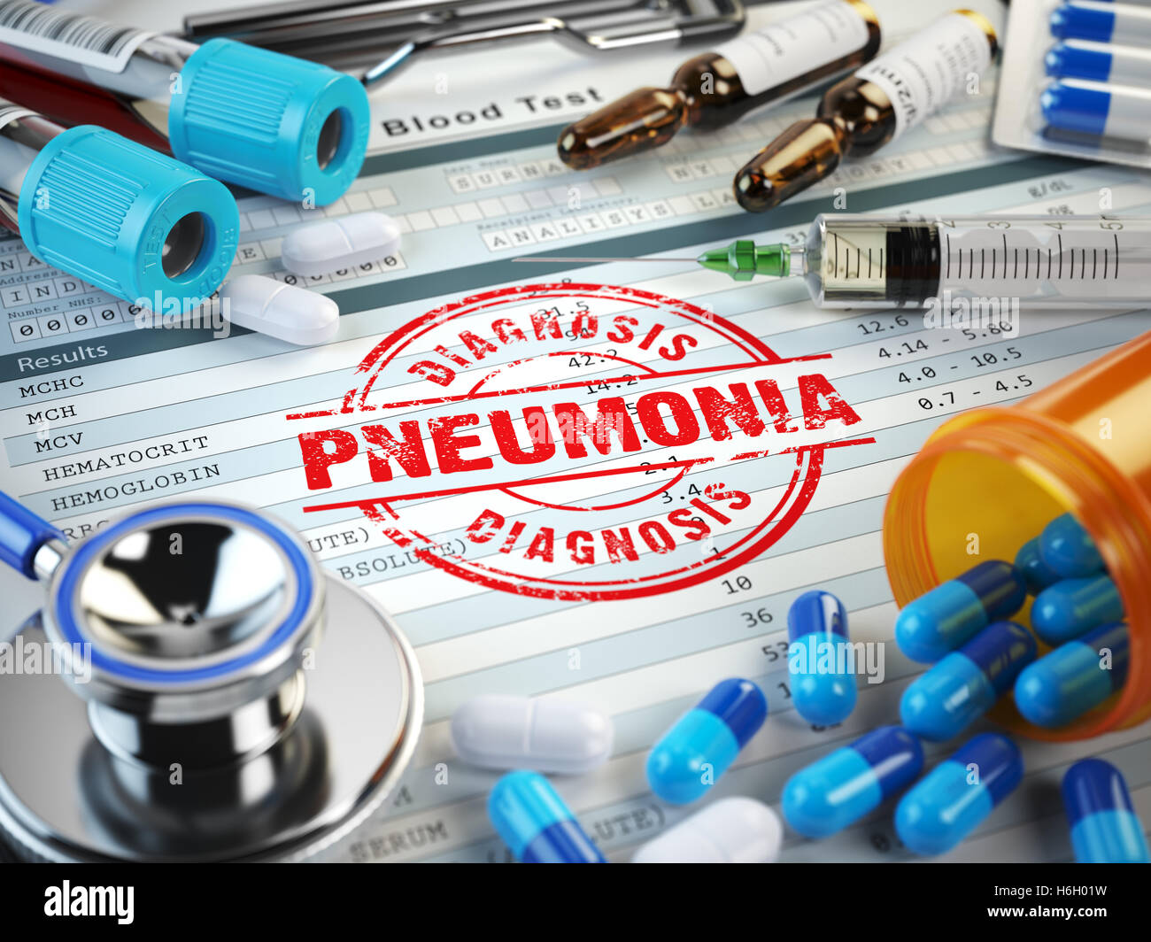 Pneumonia disease diagnosis. Stamp, stethoscope, syringe, blood test and pills on the clipboard with medical report. - Stock Image