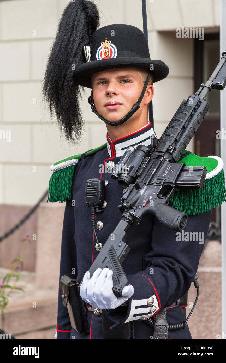A soldier, one of the King's guards, outside the Royal Palace, Oslo, Norway - Stock Image
