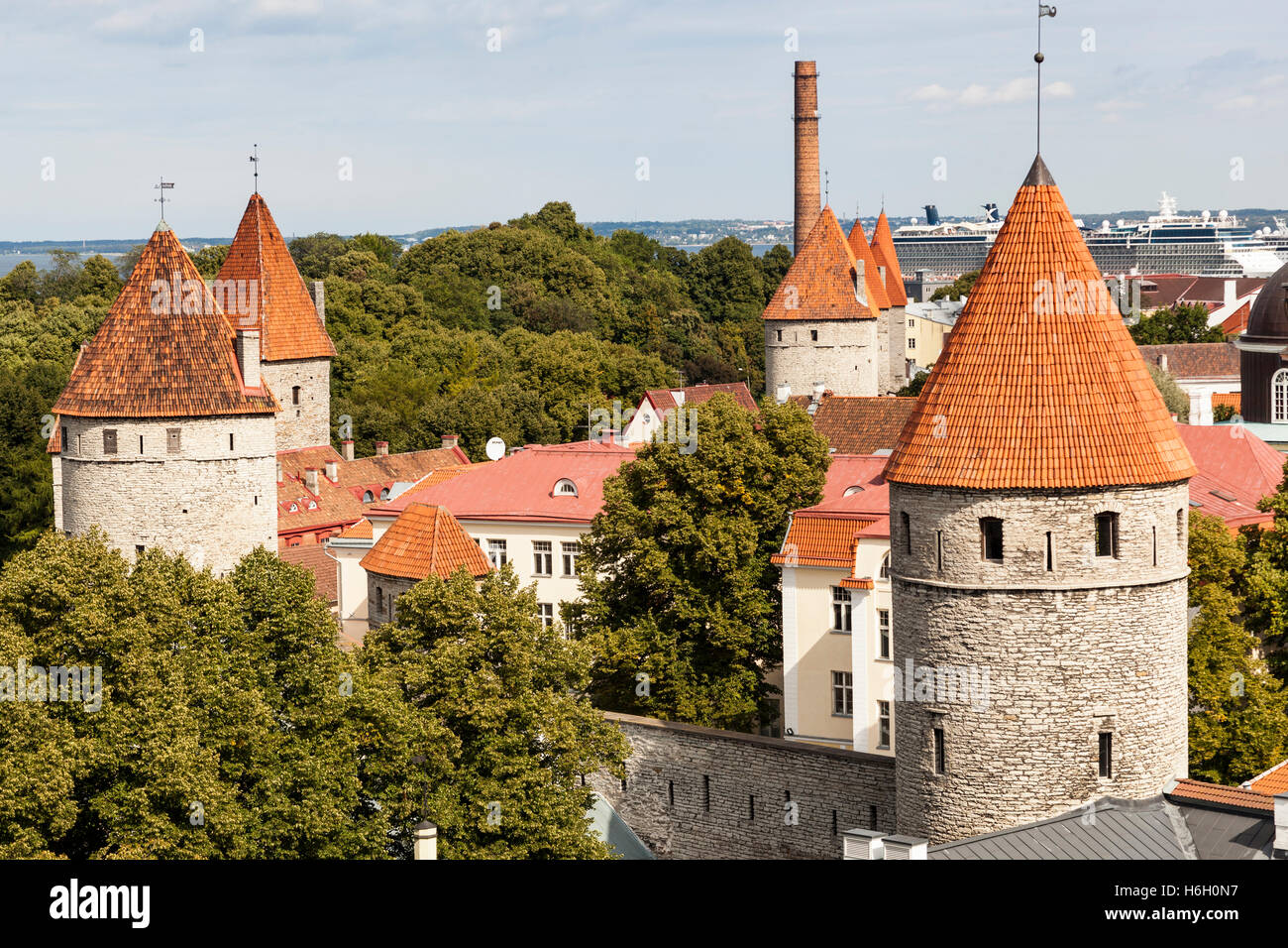 View of towers in the Old Town from Patkuli viewing platform, Toompea Hill, Tallinn, Estonia Stock Photo