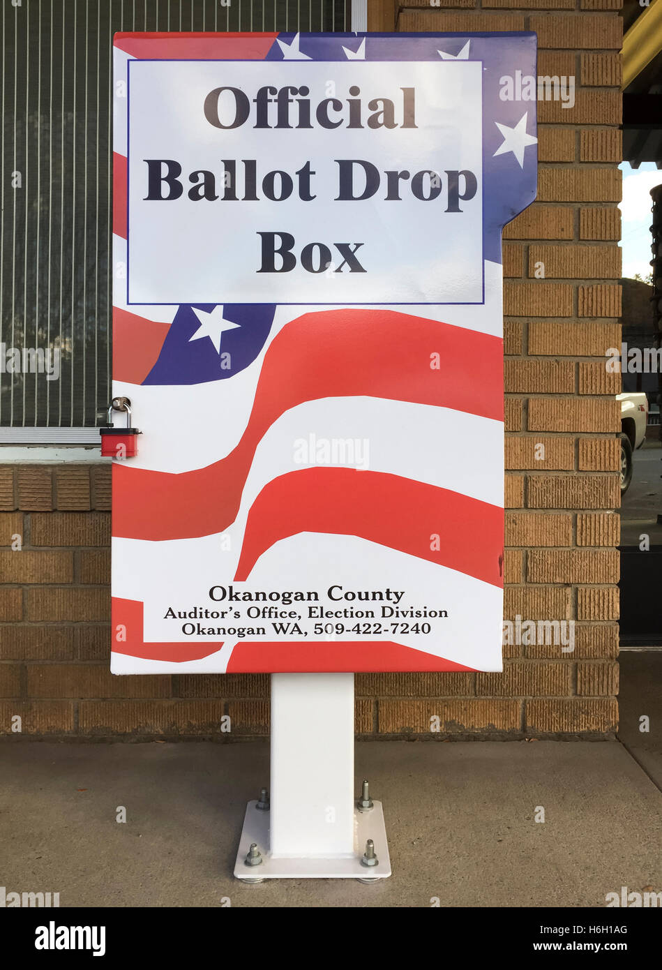 United States secure official elections voting ballot drop box on public sidewalk - Stock Image