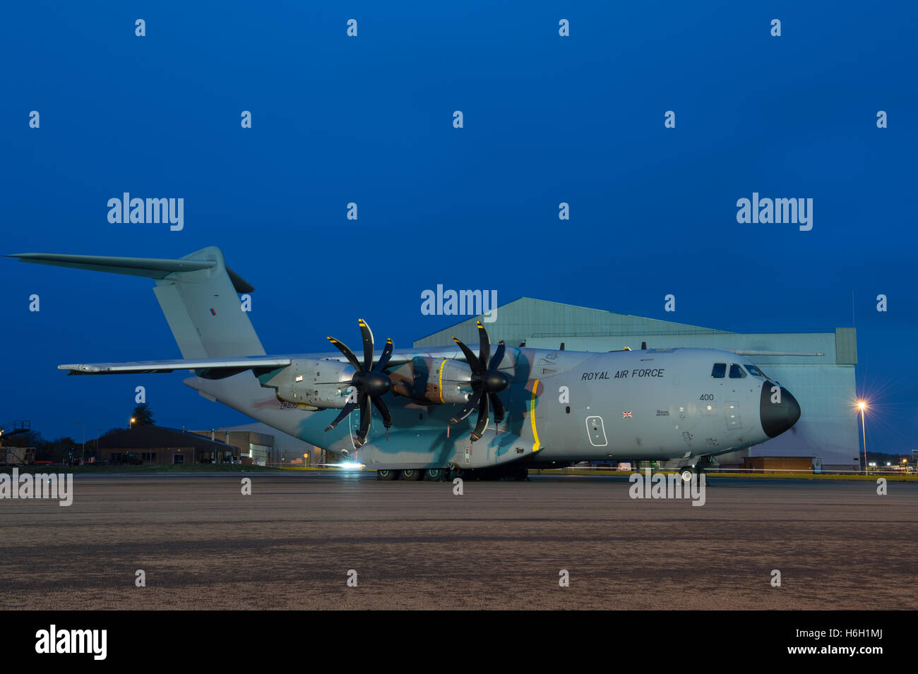 An RAF Airbus A400M Atlas at RAF Brize Norton, Oxfordshire. - Stock Image