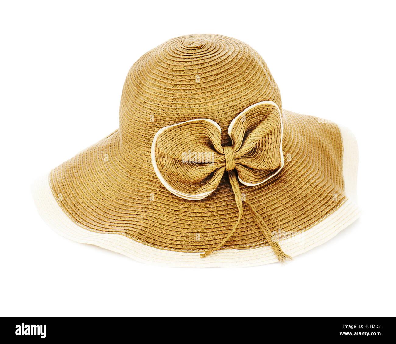 Beautiful summer hat isolated on white background. Closeup. - Stock Image