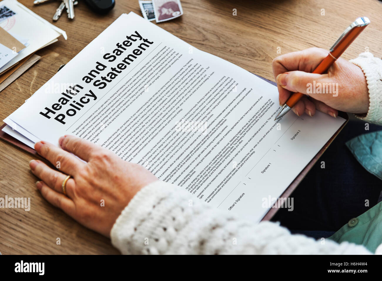 Health and Safety Policy Statement Form Concept - Stock Image