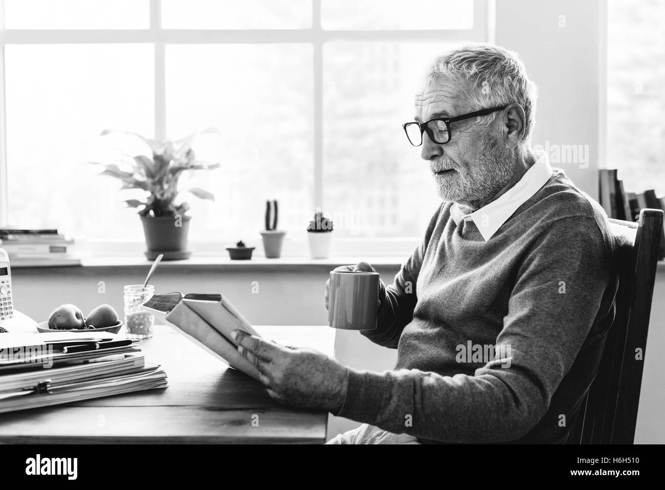 Reading Relaxation Pension Grandfather Coffee Concept - Stock Image