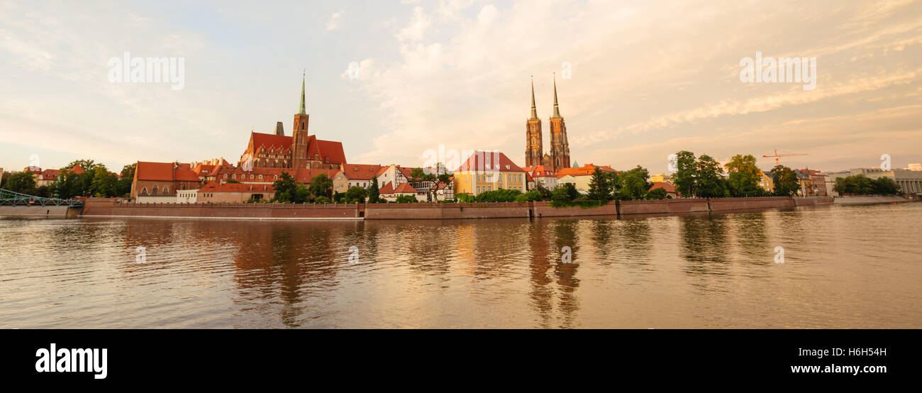 sunset panorama of the Wroclaw / Poland - Stock Image