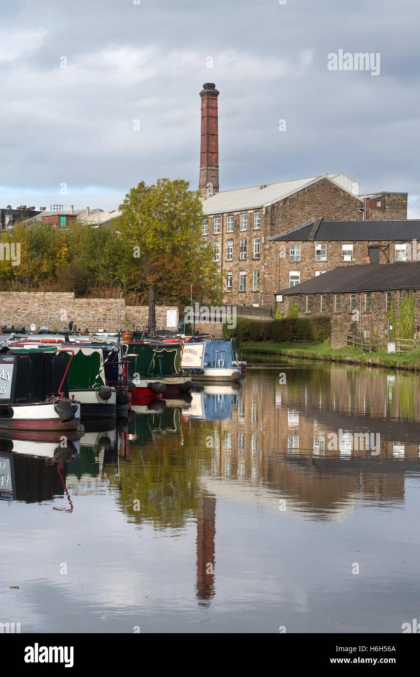 New Mills canal basin or marina, Derbyshire, England, UK - Stock Image