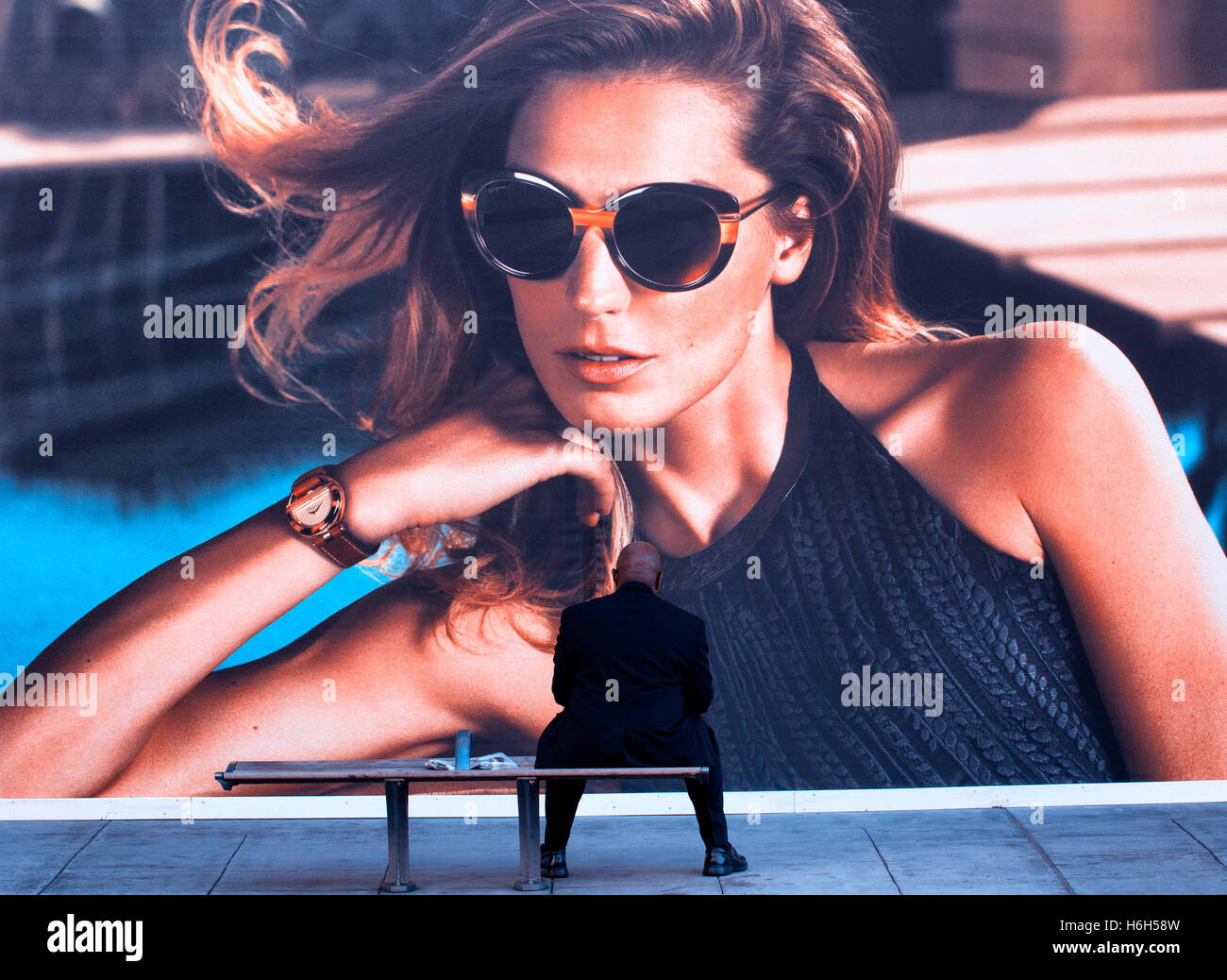 Billboard in Beverly Hills, Los Angeles - Stock Image