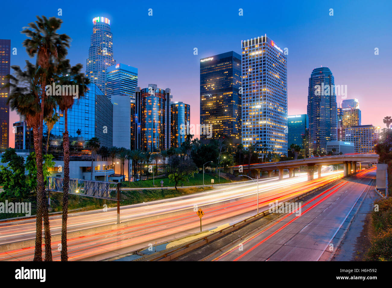 Harbor freeway in Los Angeles downtown - Stock Image