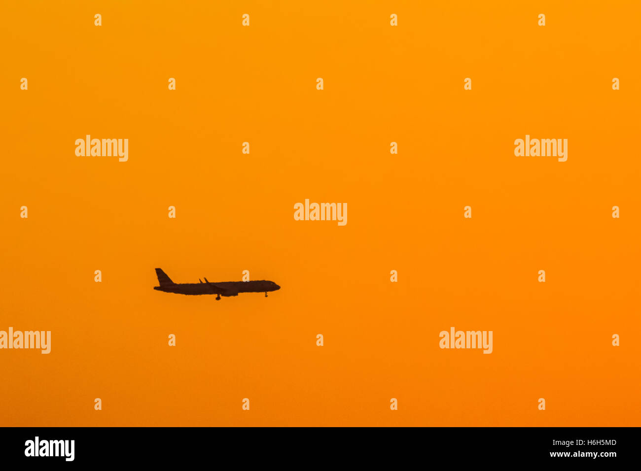 Commercial Airliner On Morning Approach - Stock Image