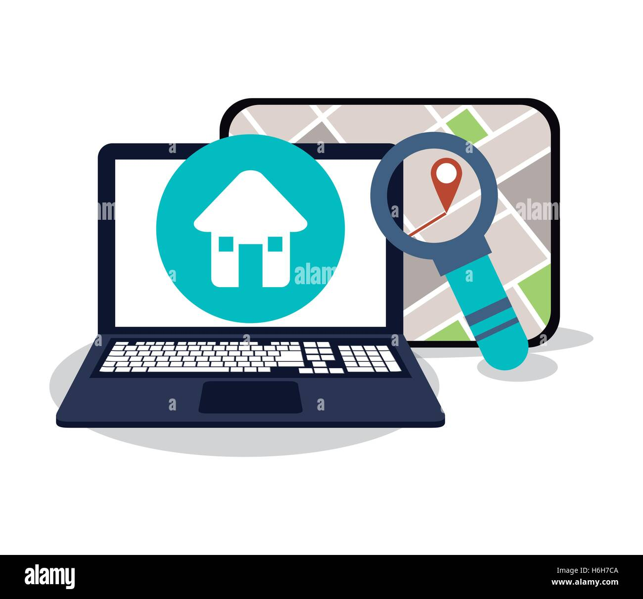 Laptop and gps map design - Stock Image
