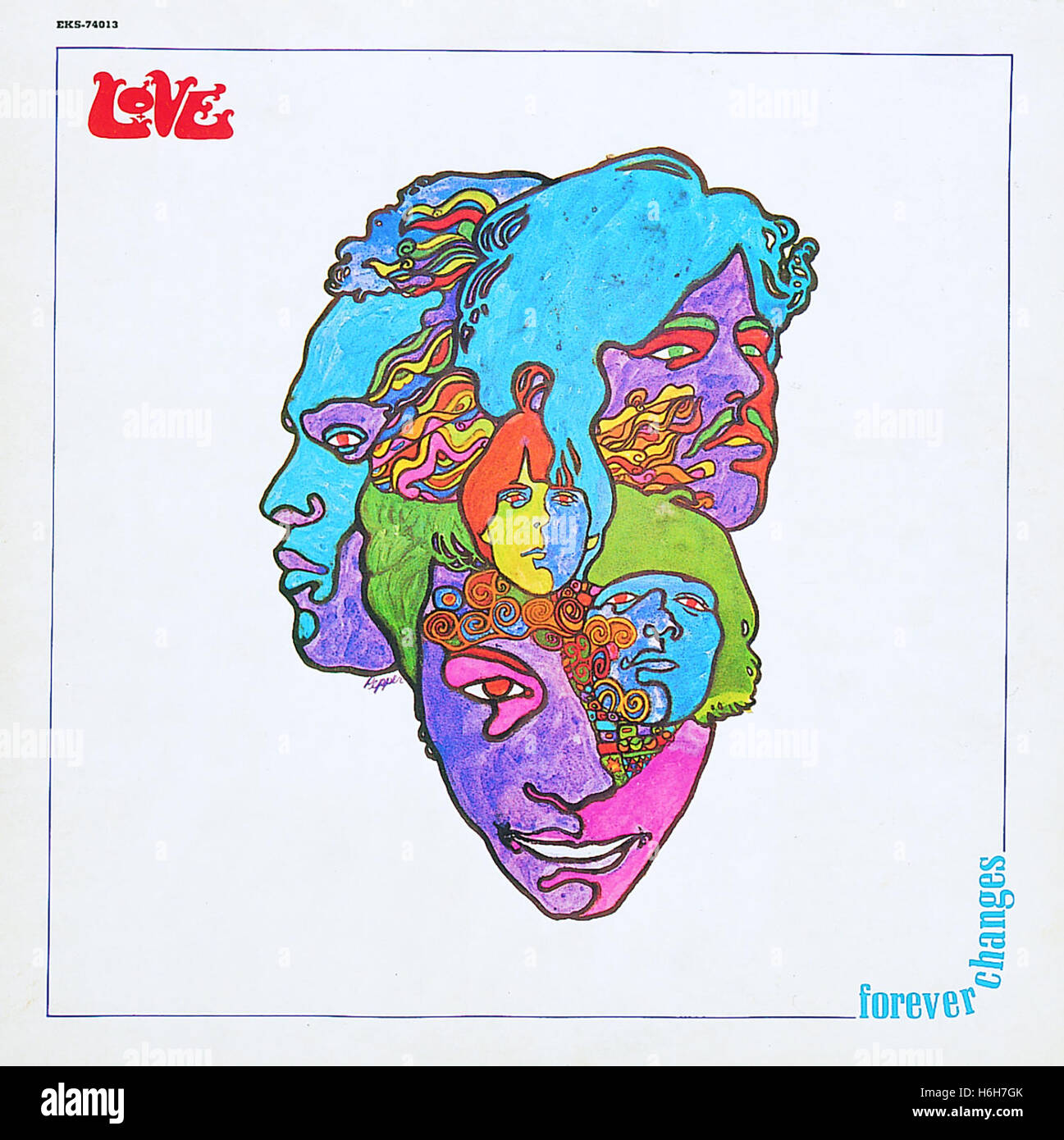 The cover of the 1967 album  'Forever Changes' by the band LOVE featuring Arthur Lee. - Stock Image