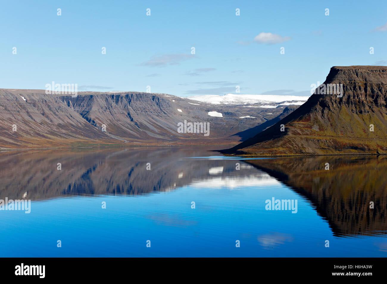 Arnarfjord landscape, Westfjords, Iceland, North Atlantic, Europe - Stock Image