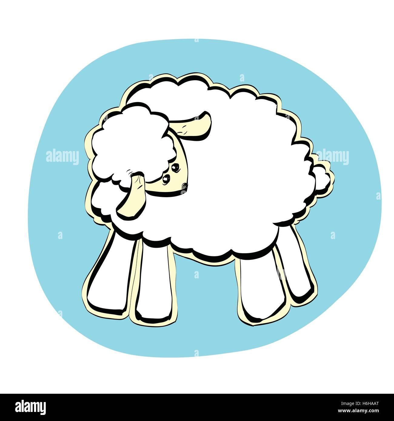 Cute Christmas or Eid al Adha sheep - Stock Vector