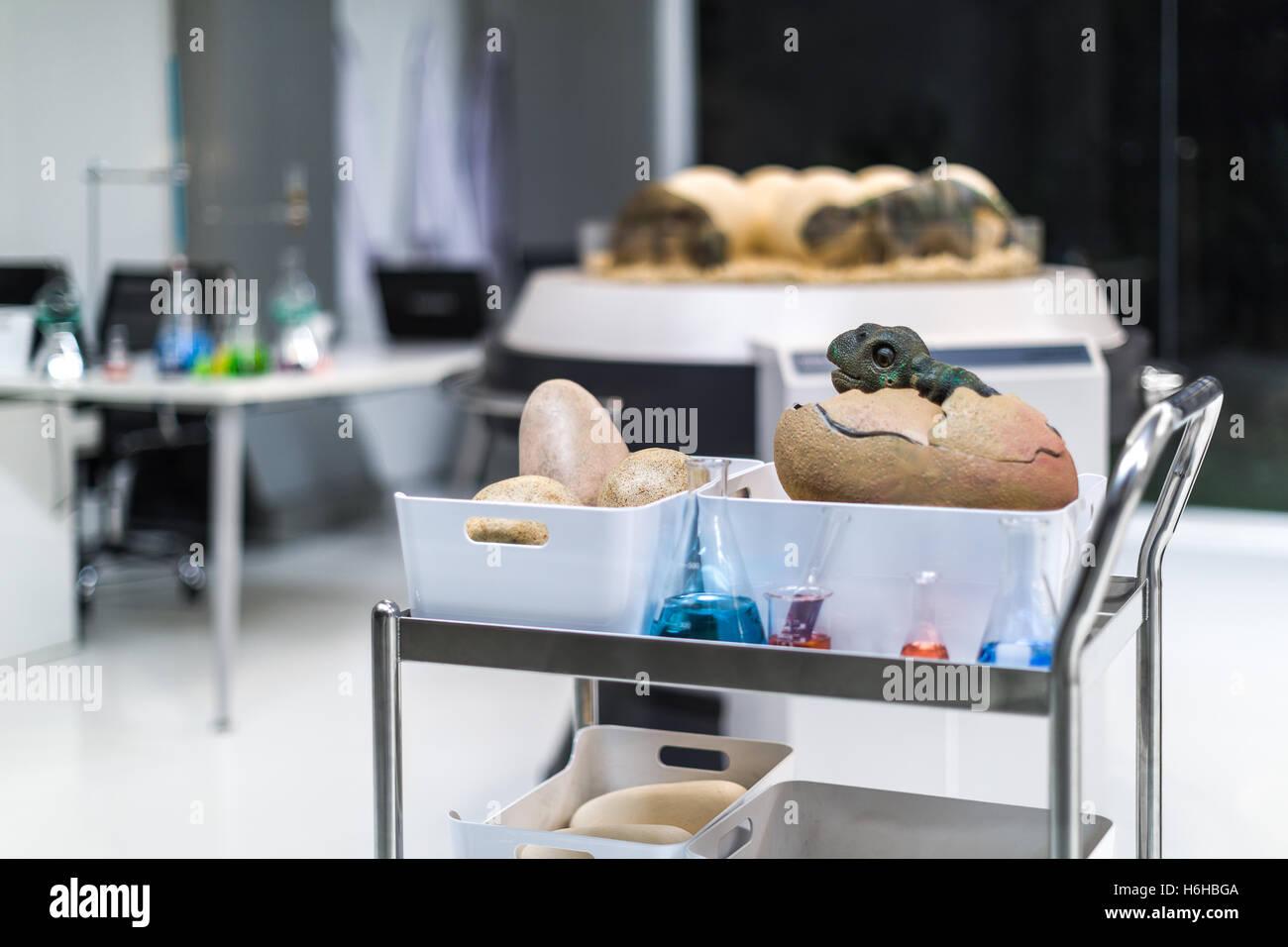 Dinosaur egg in modern science laboratory of paleontology. - Stock Image