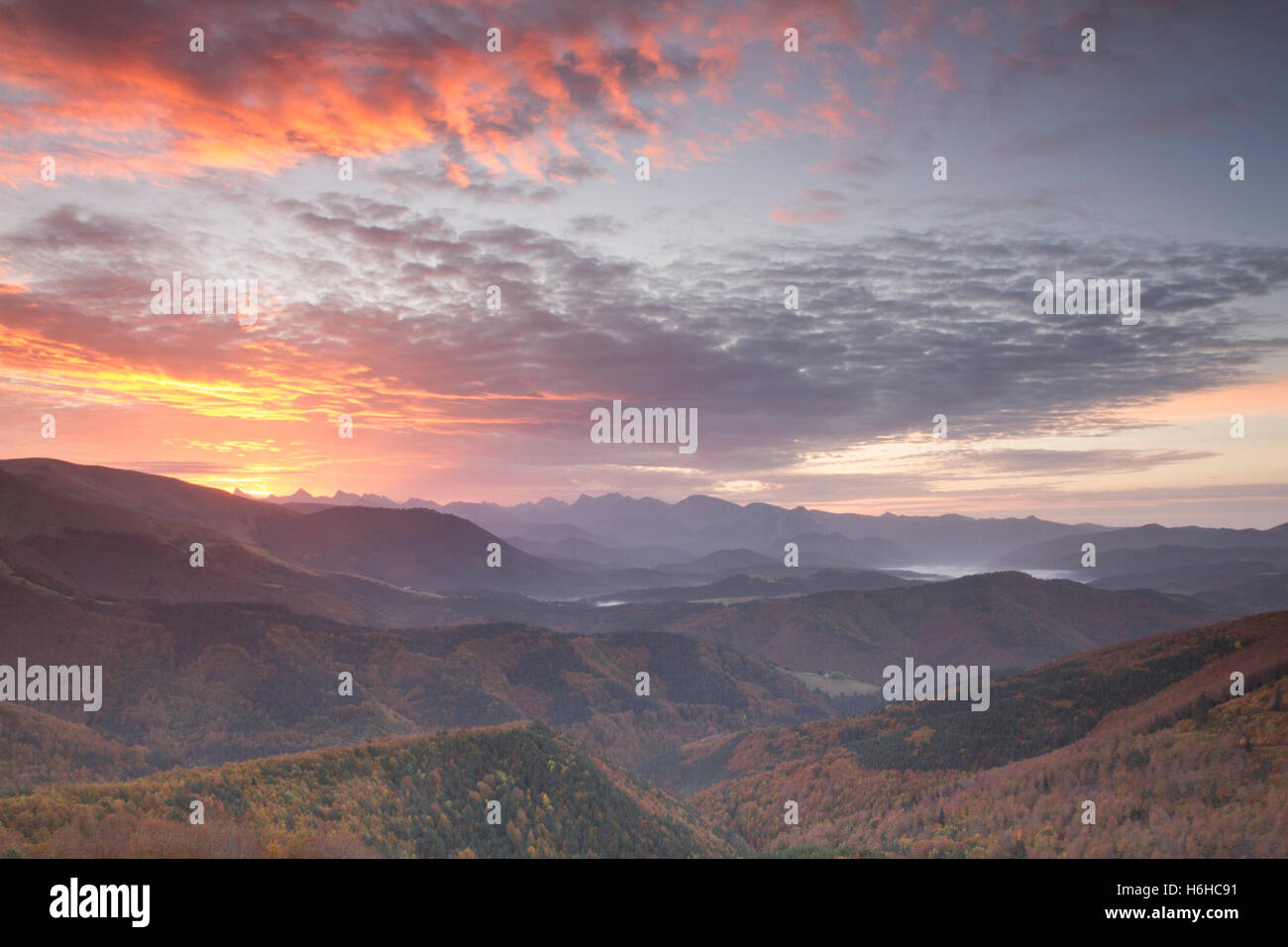 Autumn in Pikatua viewer, Navarre, Spain. - Stock Image