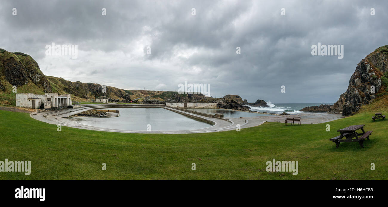 Tarlair outdoor sea swimming pool dating from 1931, Macduff, Banffshire (now Aberdeenshire) in Scotland, UK - Stock Image