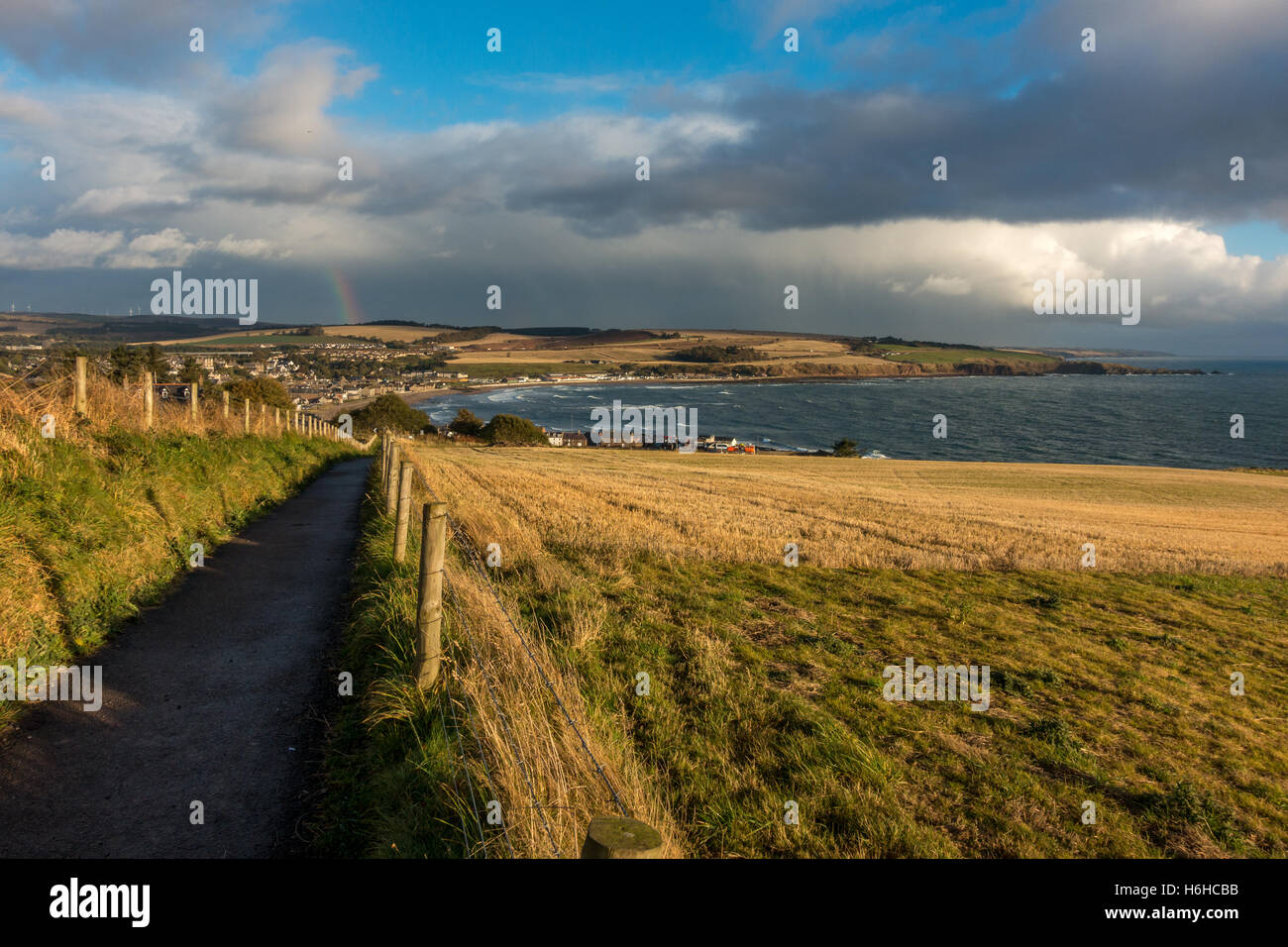 The footpath from Dunnottar Castle back to Stonehaven, Aberdeenshire, Scotland, UK - Stock Image