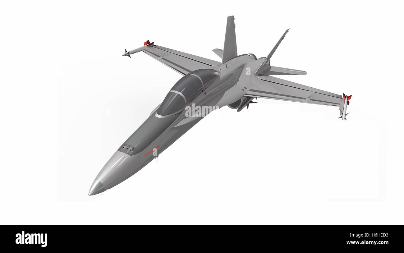 Portrait of military jet fighter plane Stock Photo