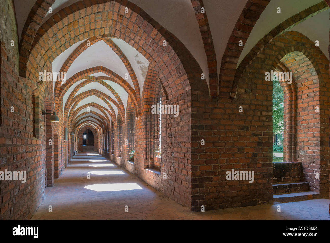 Cloister in Carmelite monastery, 15th century, Helsingør or Elsinore, Capital Region of Denmark, Denmark - Stock Image