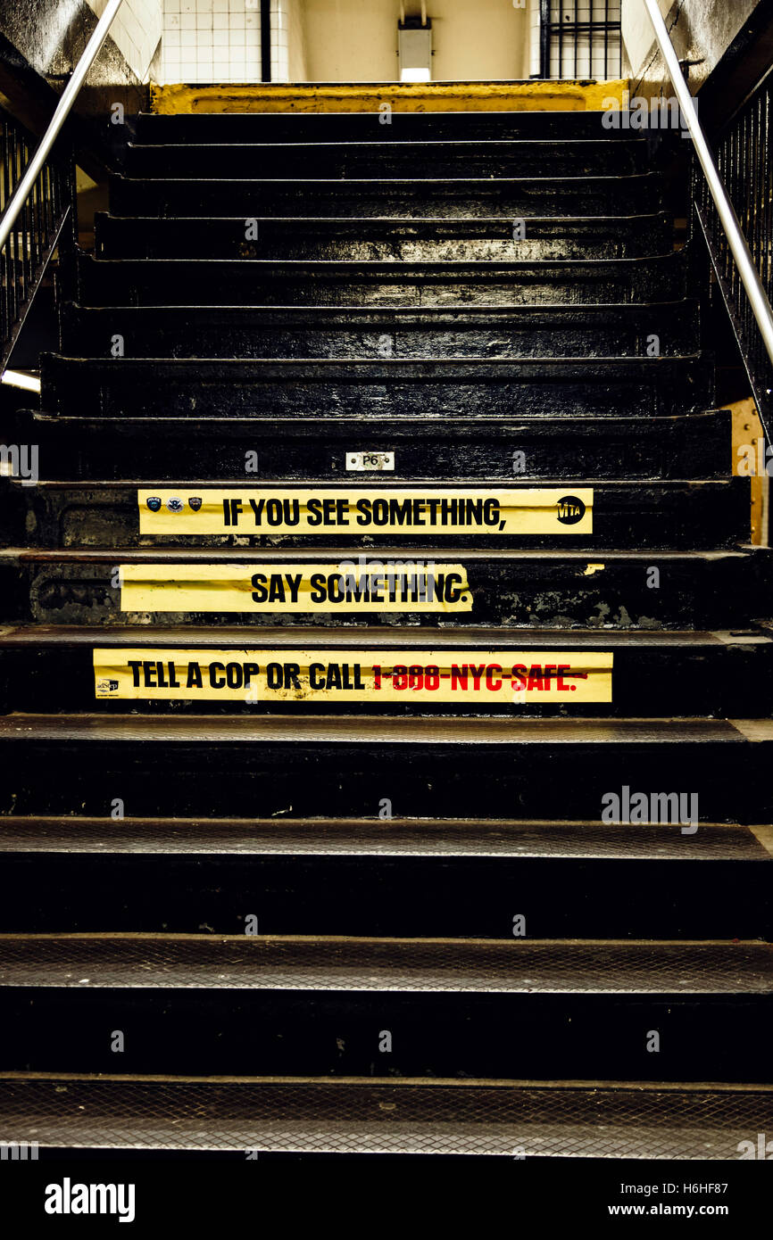 New-York - NOV 14: 'If you see something, say something' sign on subway station's staircase in New-York, - Stock Image