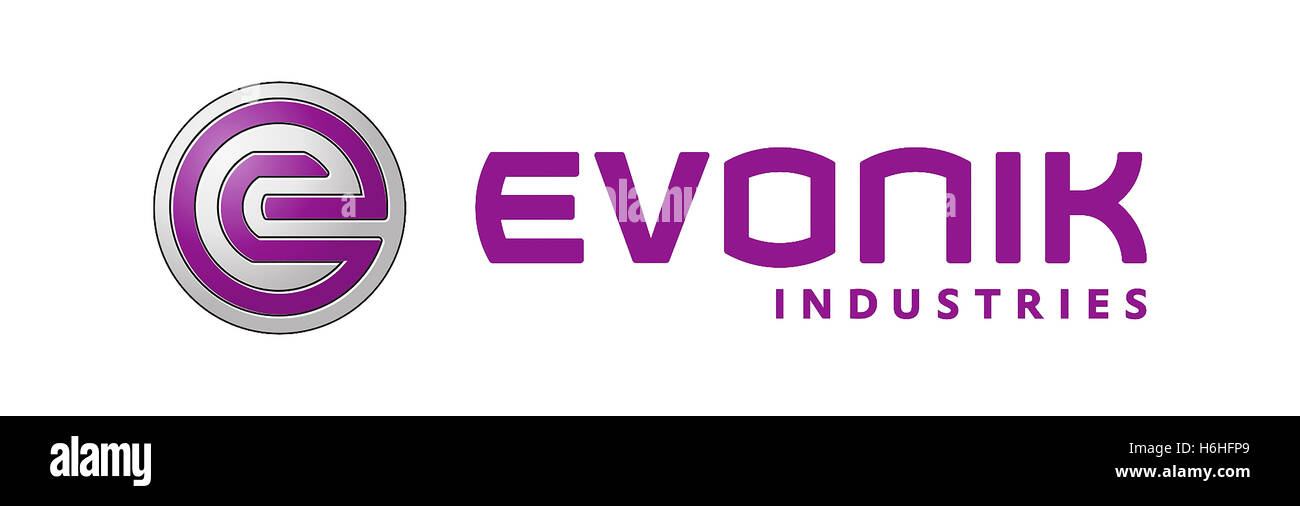 Logo of the German industrial corporation Evonik Industries with seat in Essen. - Stock Image