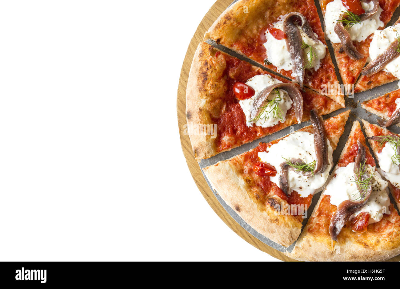 Rustic italian pizza on white background. - Stock Image