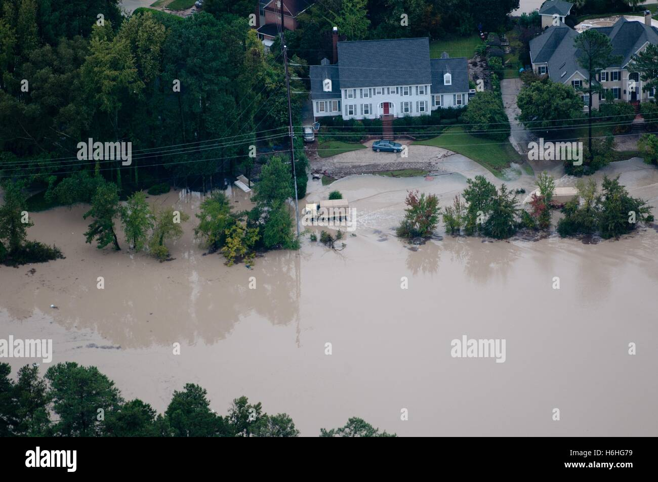 An aerial view of severe flooding after the 1,000-year rains that caused floods throughout the south October 5, - Stock Image